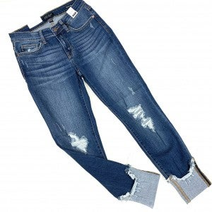Judy Blue Cuffed Destroyed Jeans