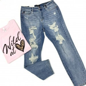 "Judy Blue ""Not Your Boyfriends"" Distressed Jeans"