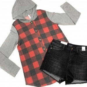 Cozy In Plaid Hoodie Top