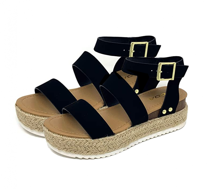 Bryce Espadrille Black Wedges