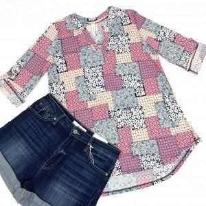 Quilted With Love Floral Top