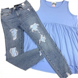 "Judy Blue ""No Place Like Home"" Gingham Jeans"