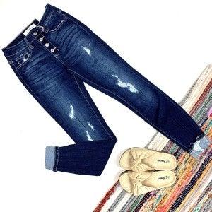 Dark Wash Kancan Destroyed Jeans