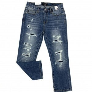 "Judy Blue ""Pour Me A Round"" Destroyed Patch Capris"