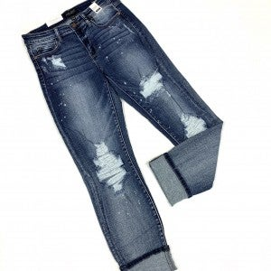 "Judy Blue ""What's The Hype"" Bleached Boyfriend Jeans"