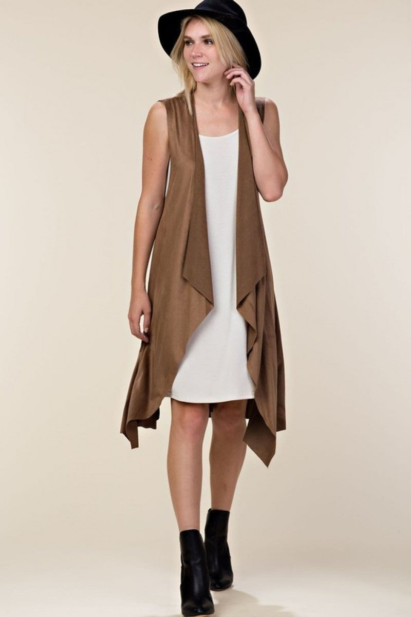 Long Faux Suede Vest