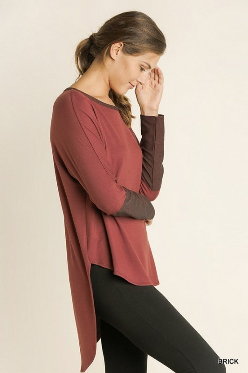 Easy and Soft Scoop Neckline Top with Contrast Neck and Cuffs.