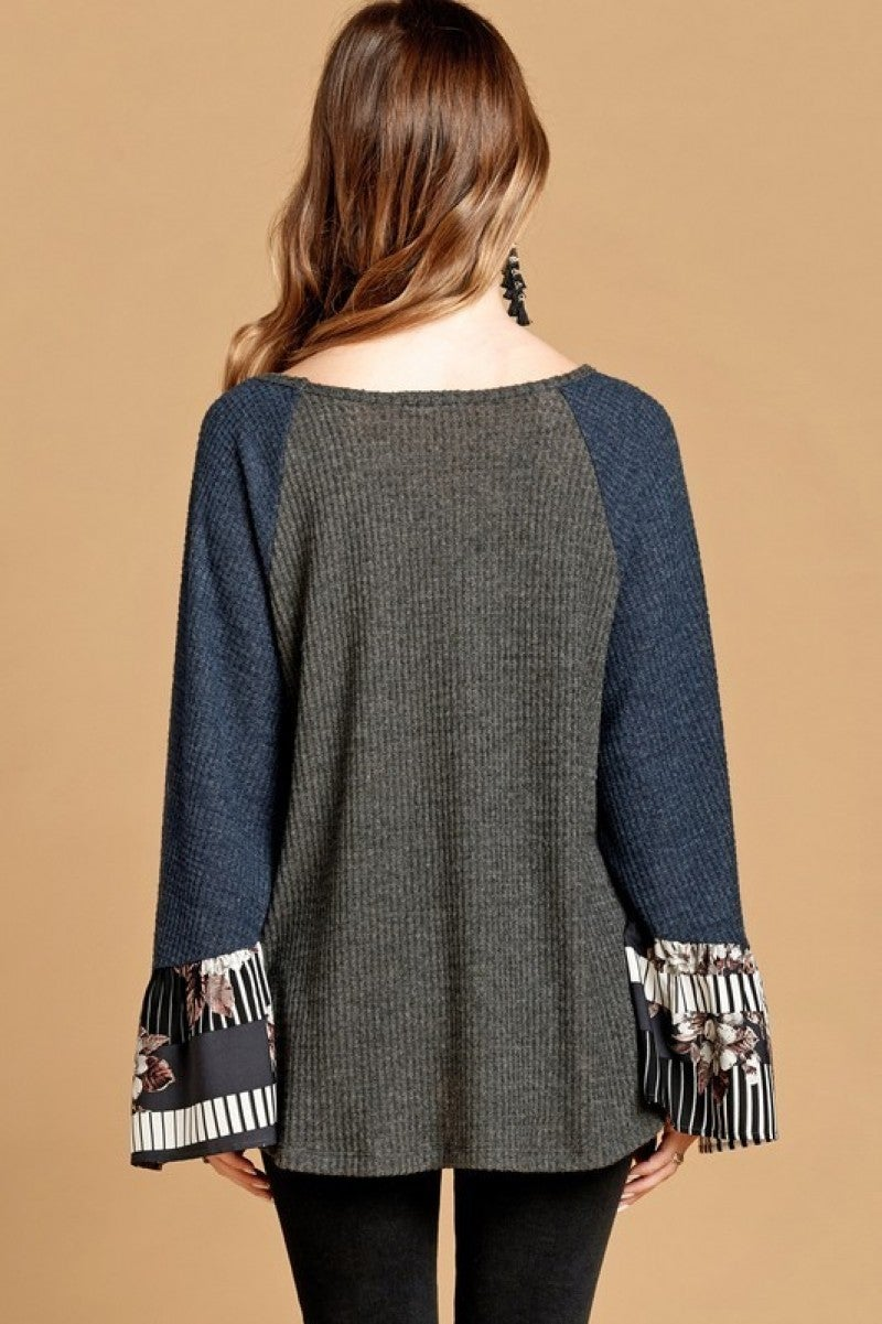 Charcoal Waffle Knit Top with  Printed Bell Sleeves