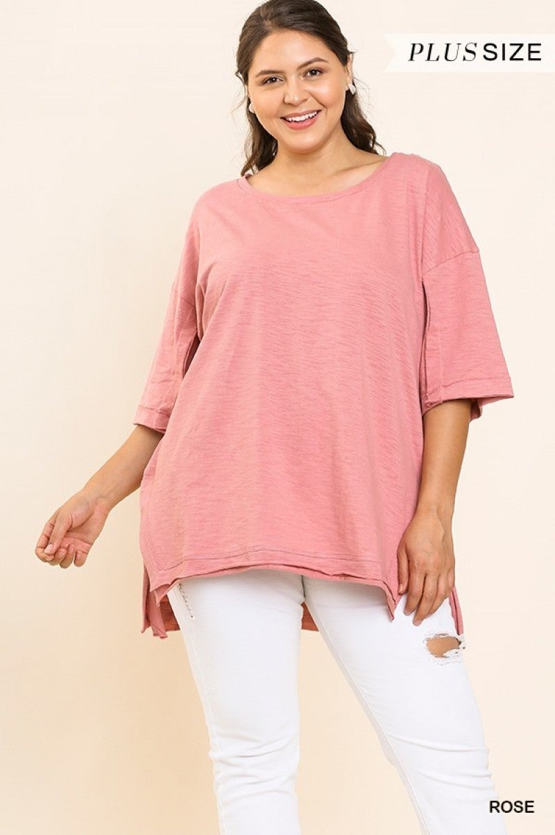 Rose Short Sleeve Top with High Low Slit Raw Hem