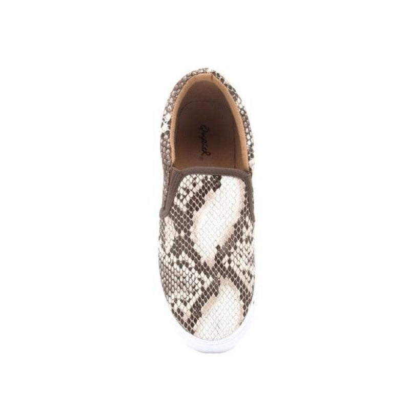 Brown/White Snake Print Slip on Sneaker