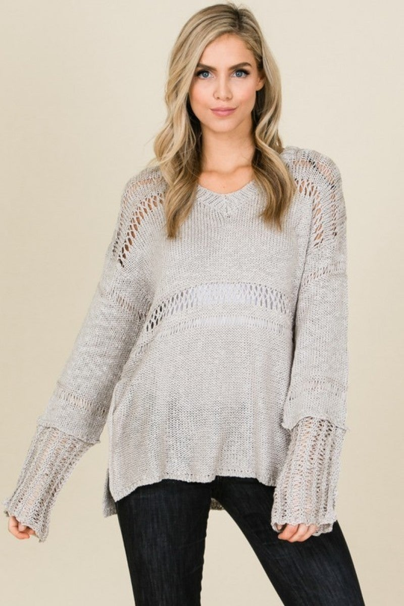 Comfortable, Loose Fit V-neck Sweater