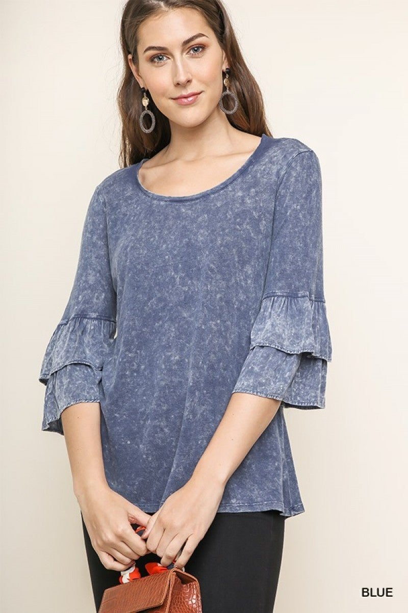 Blue Mineral Washed Top with Layered Ruffled Bell Sleeves