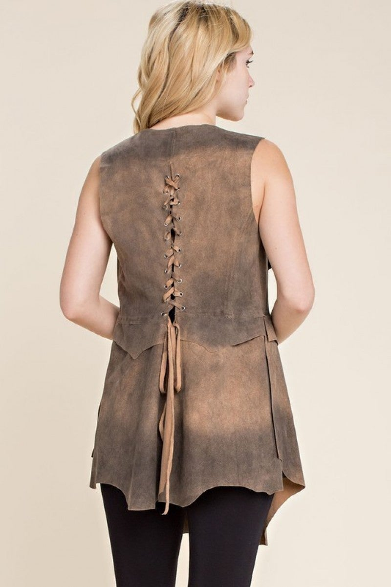 Taupe Suede Vest with Back Detailing