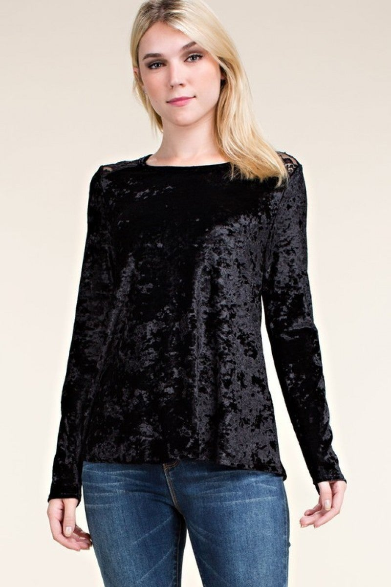 Long Sleeve Velvet Top with Open Detail Back