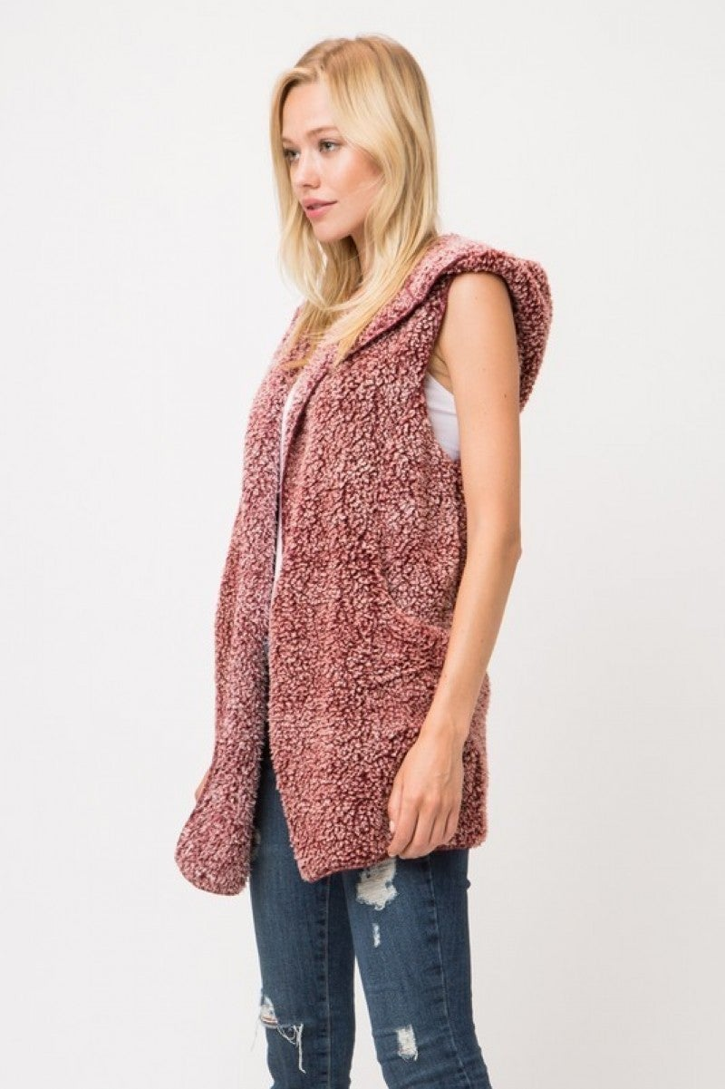Faux Fur Sleeveless Soft Hoodie Vest
