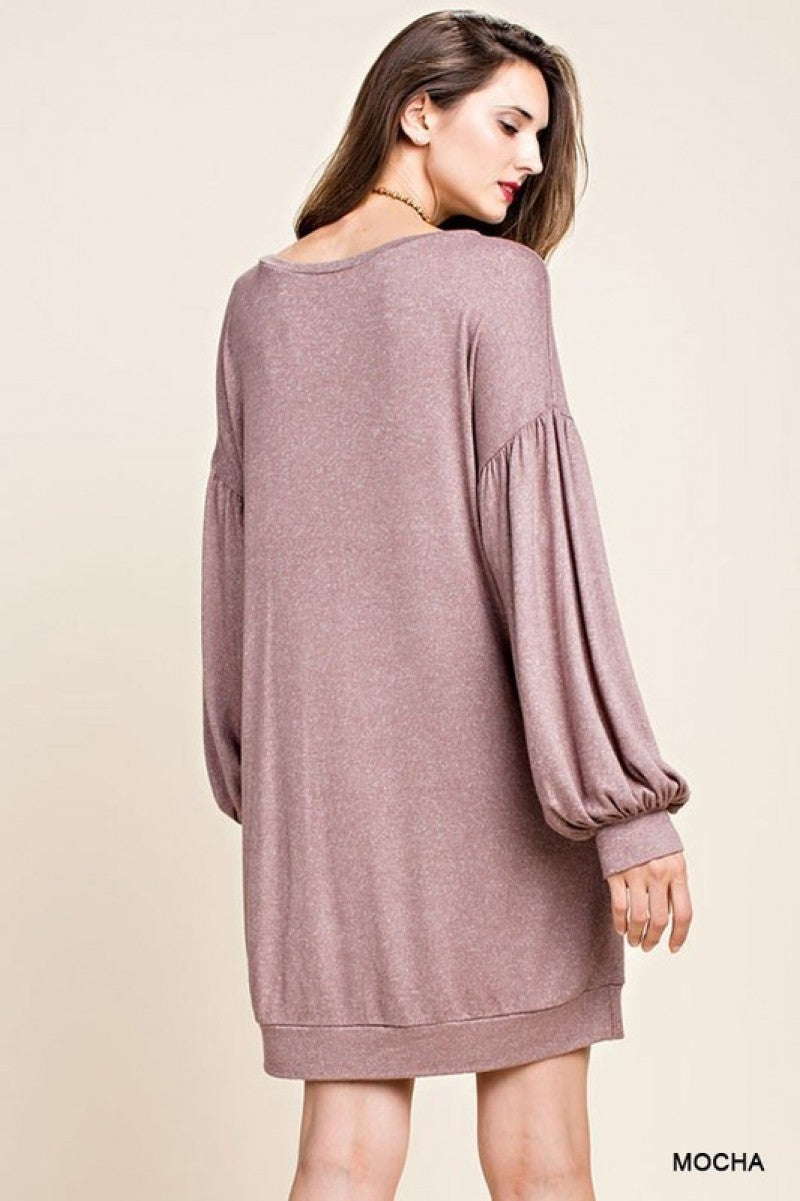Mocha Pullover Banded Dress with Billowy Balloon Sleeves