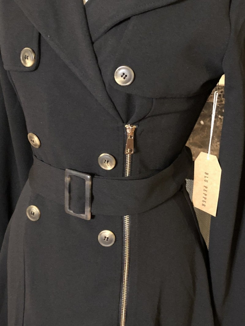 Black Belted Peacoat with Gold Zipper