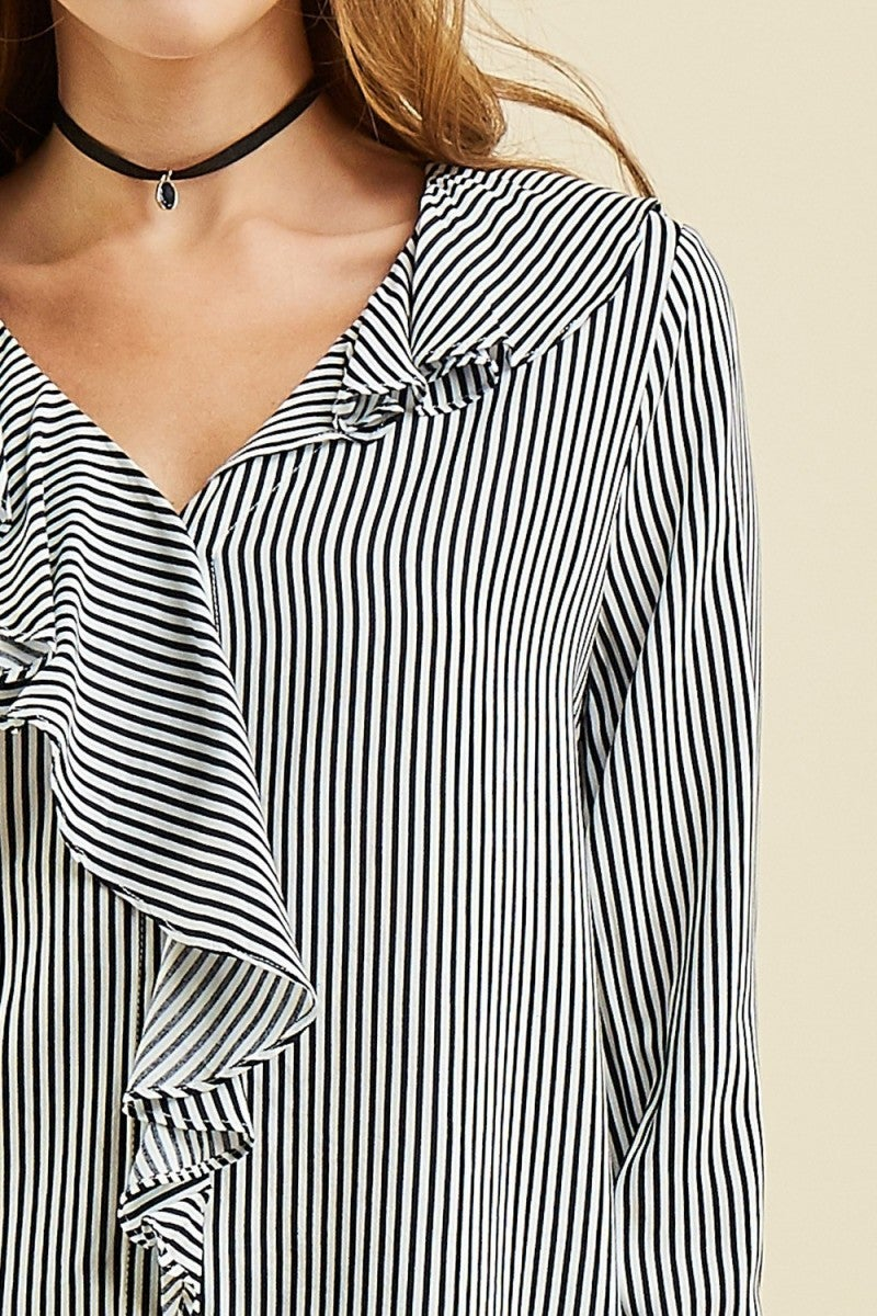 Navy Pinstripe Button-up Ruffle Front Blouse