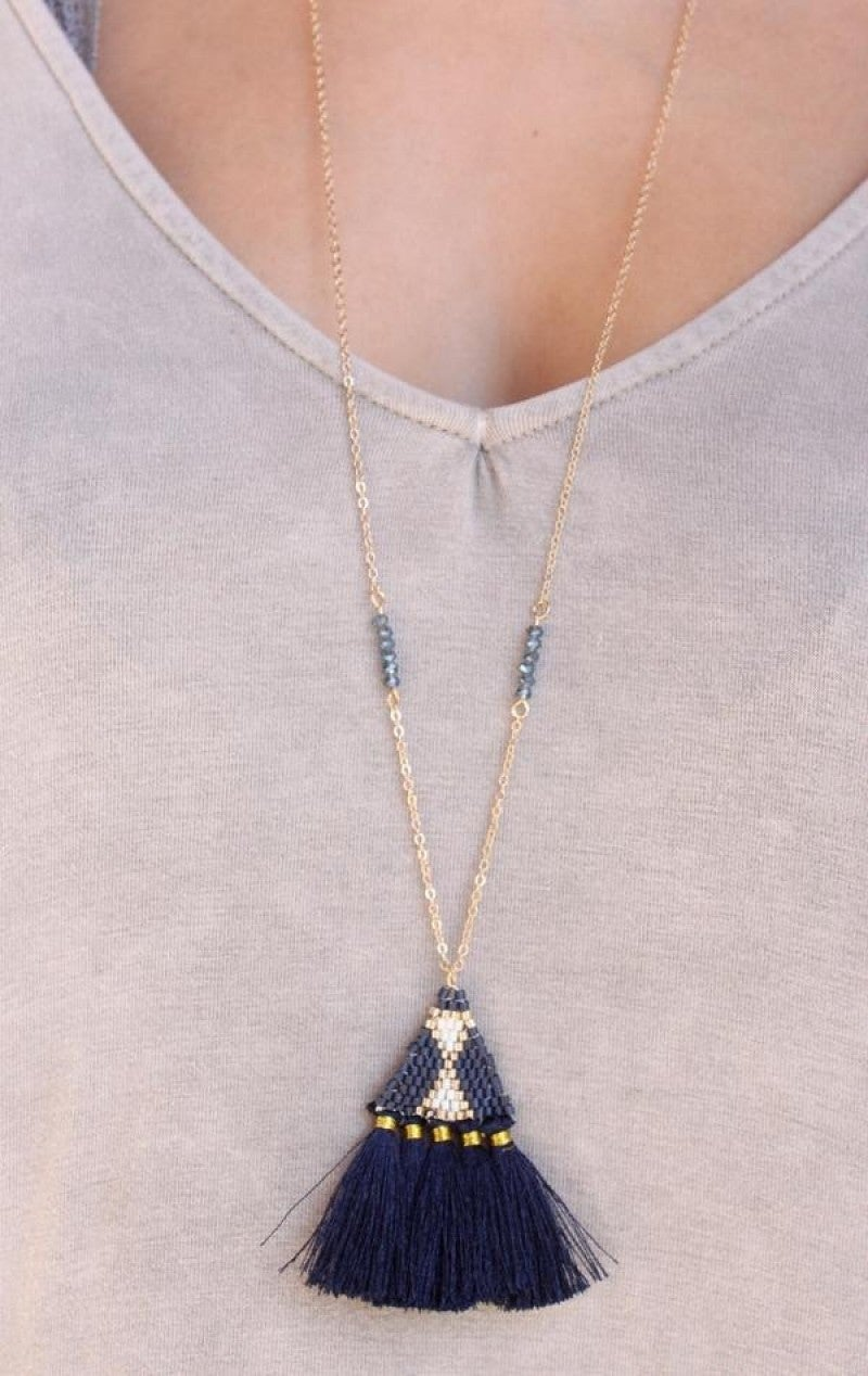 Chain and Seed Bead Triangle with Fabric Tassel Necklace
