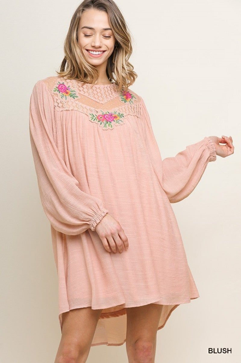 Long Puff Sleeve Dress with Floral Sheer Lace Yoke with Floral Applique