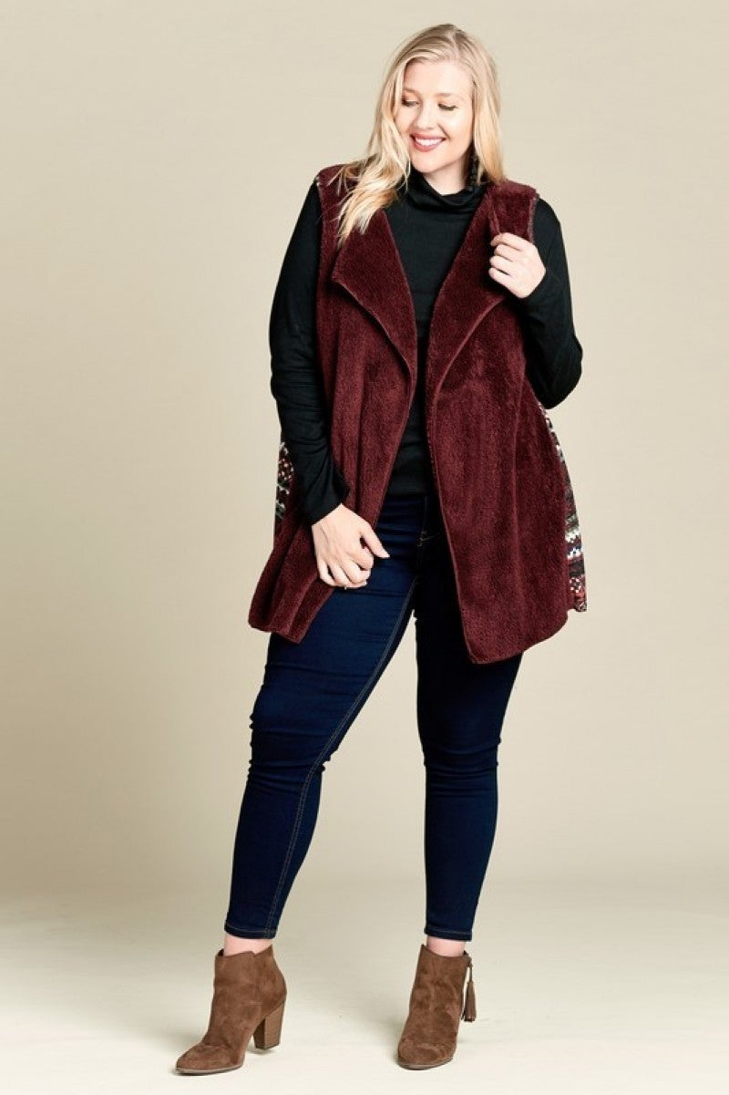 Burgundy Faux Fur Vest with Tribal Print Contrast