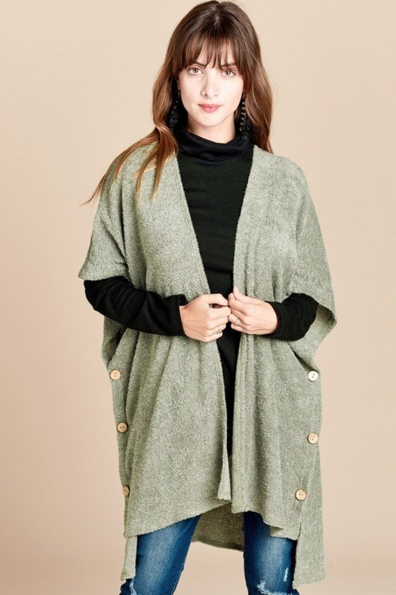 Olive Kimono with Side Button Detailing -ONE SIZE