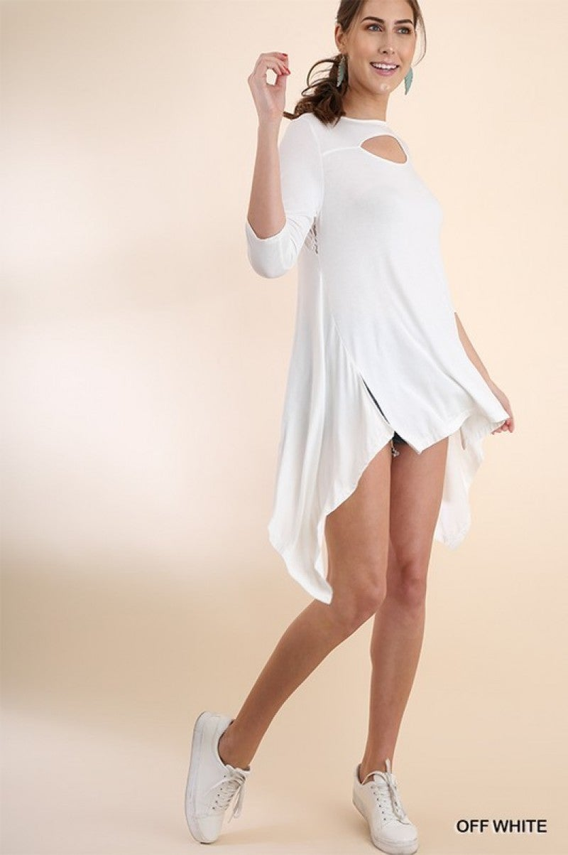 3/4 Sleeve, High Low Tunic with Chest Cutout