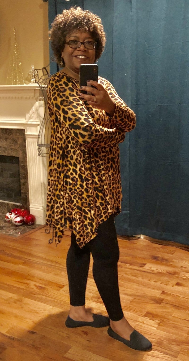 Leopard Print Tunic in Amber with Sharkbite Hem