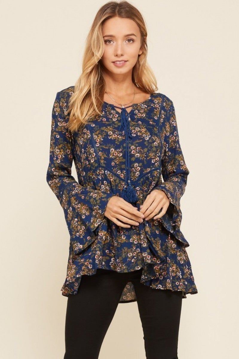 Navy Floral Print Gauze Top with Bell Ruffle Sleeves