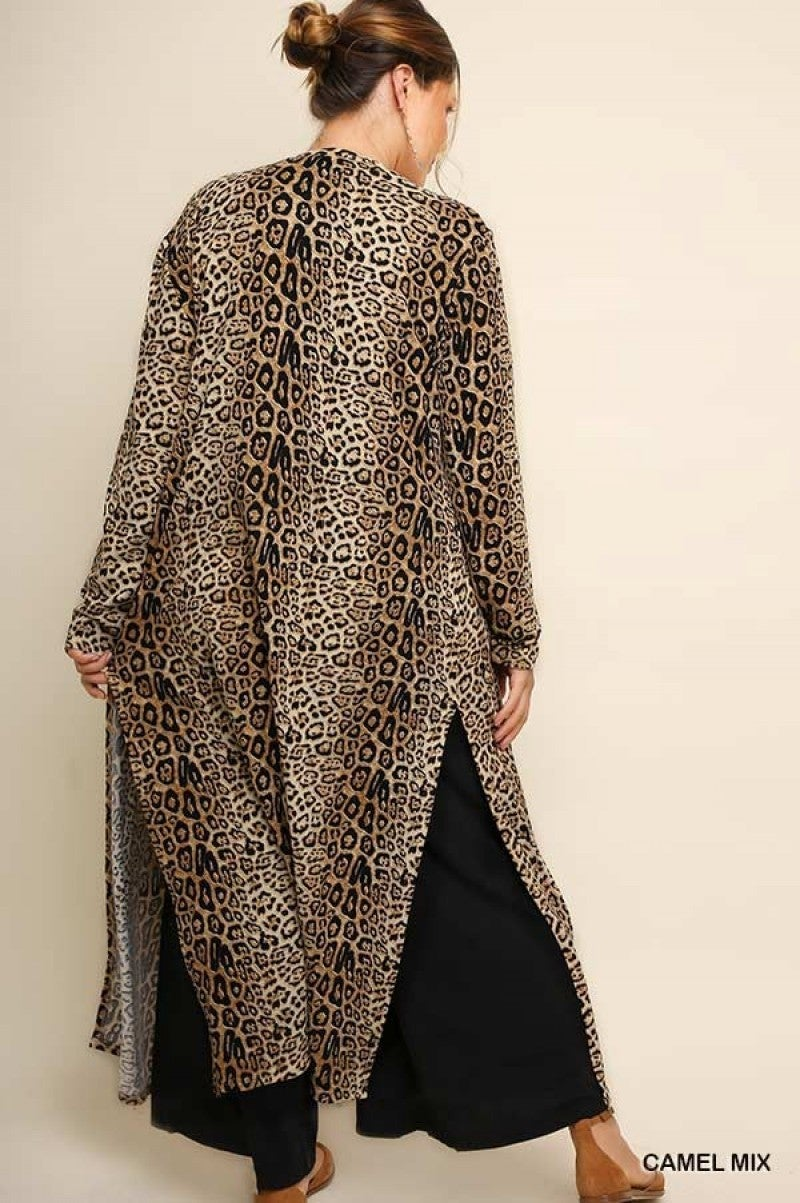 PLUS - Jaguar Print Long Cardigan