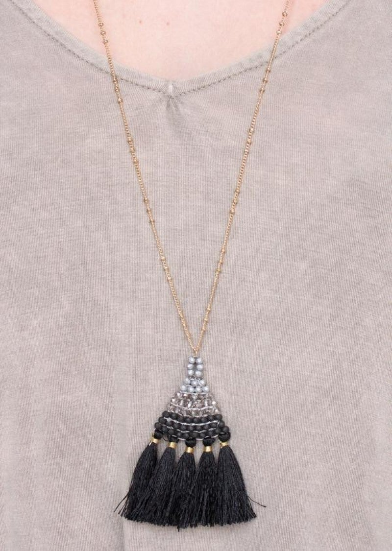 Badi Chain Necklace with Beaded Triangle and Fabric Tassel