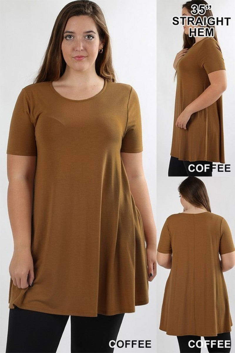 Plus-size Solid Tunic with Pockets