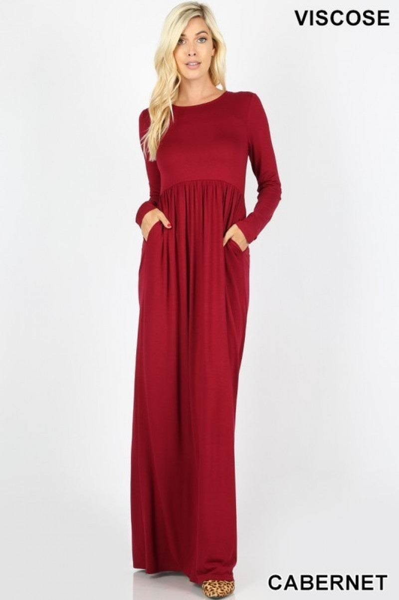 Long Sleeve Maxi with Shirred Waist