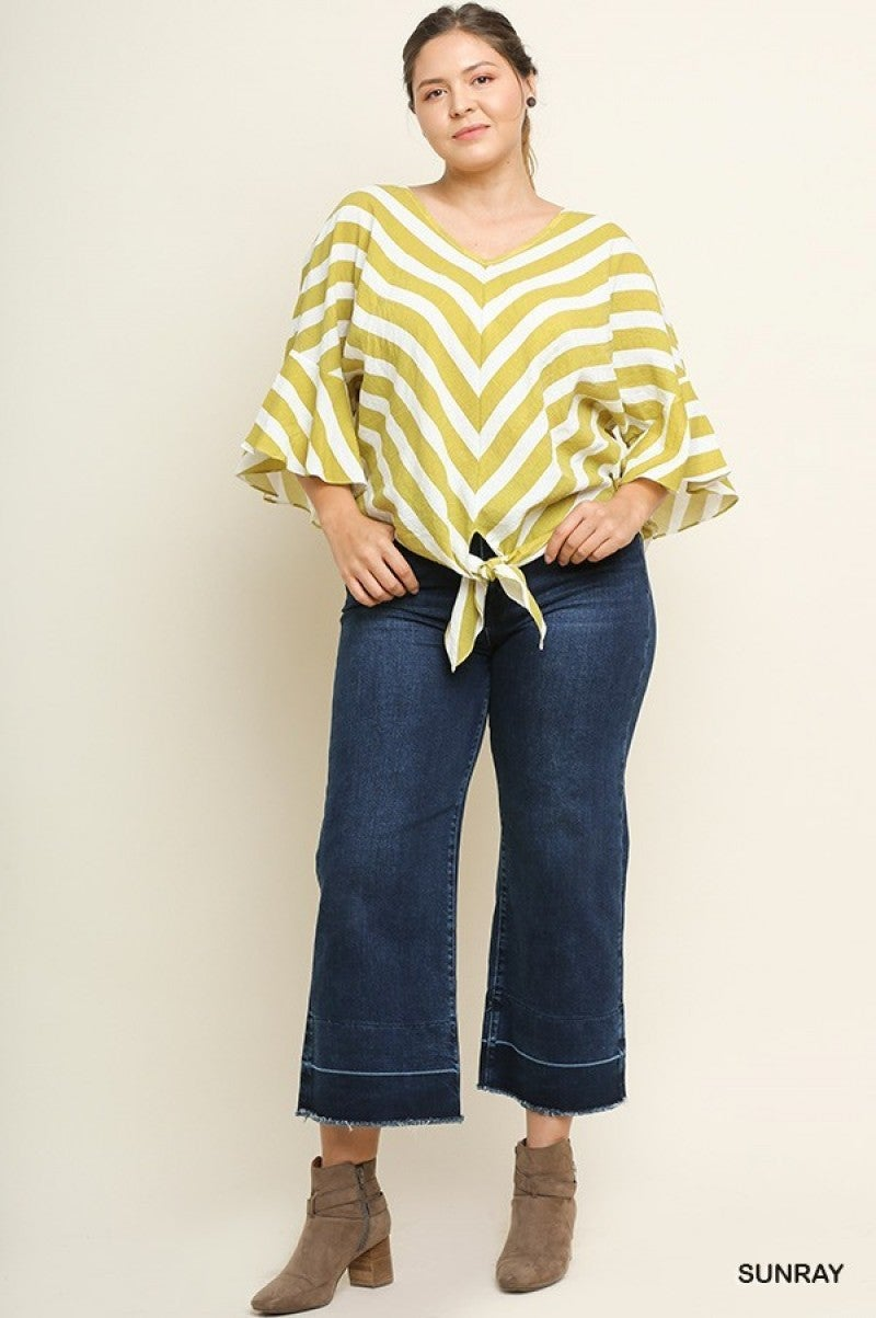 Sunray Chevron Striped 3/4 Ruffled Bell Sleeve Top