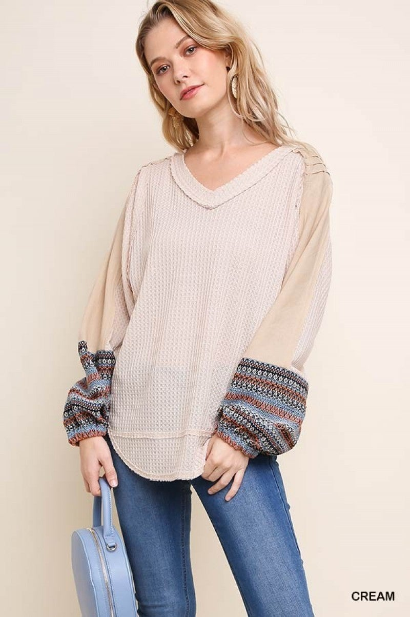 Cream Waffle Knit Top with Multicolor Embroidered Puff Sleeves