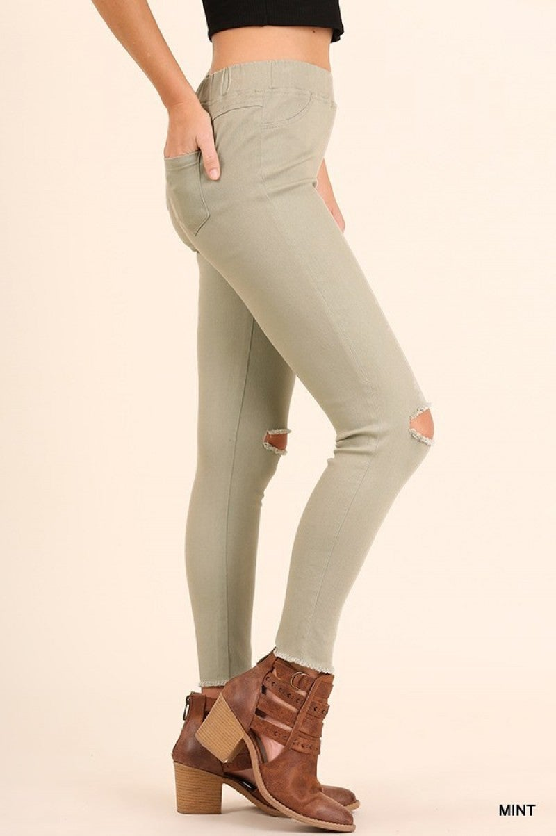 High Waist Knee-Cut Jeggings