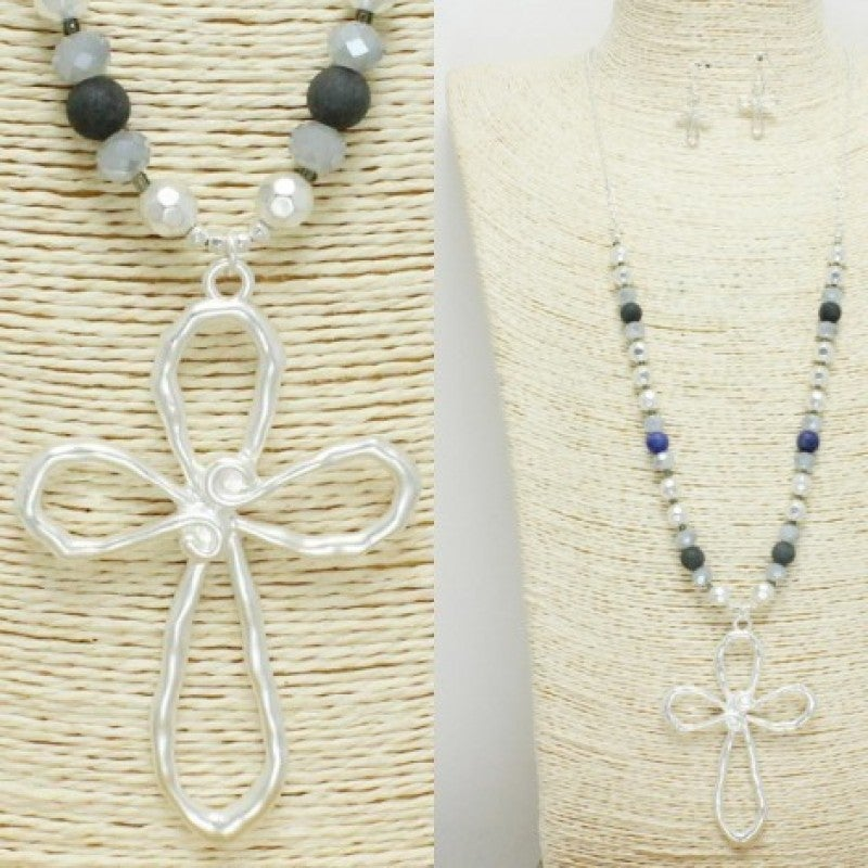 Open Cross Long Beaded Necklace Set