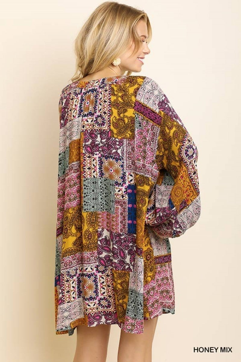Multicolor Paisley Dress with Long Puff Sleeves