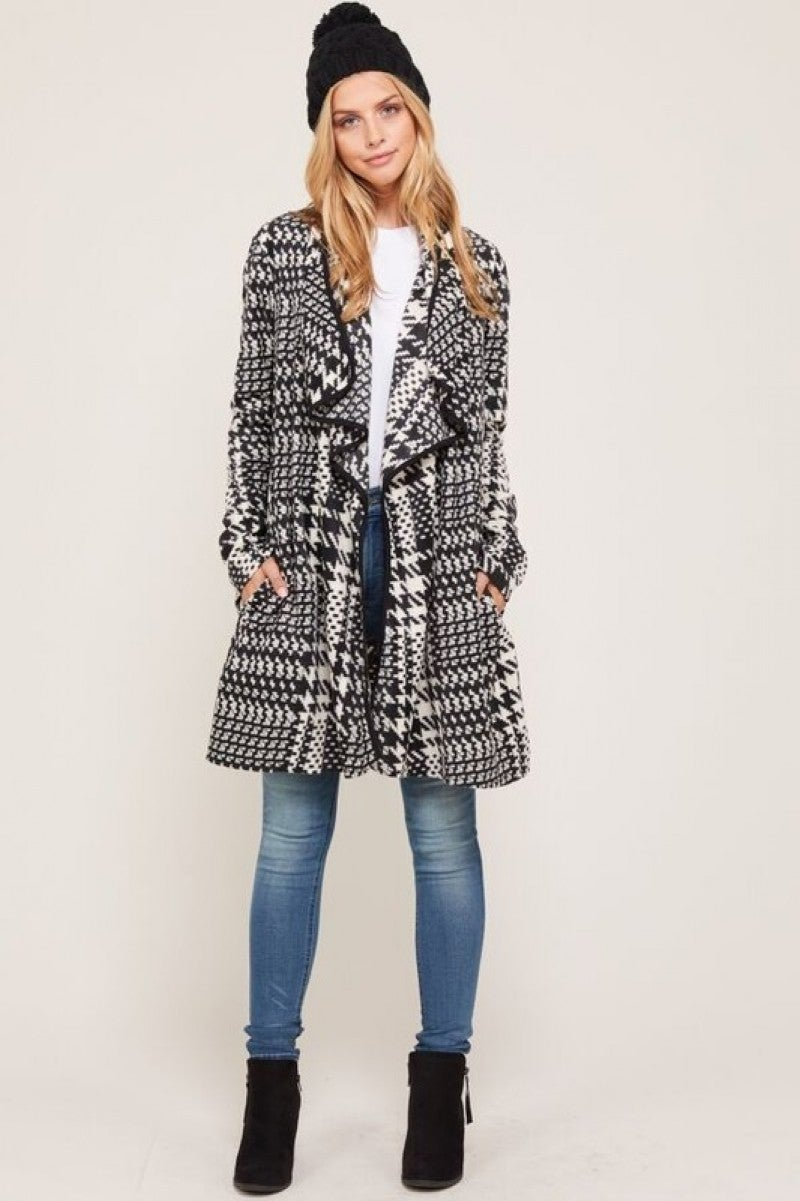 Black/White Print Sweater Jacket
