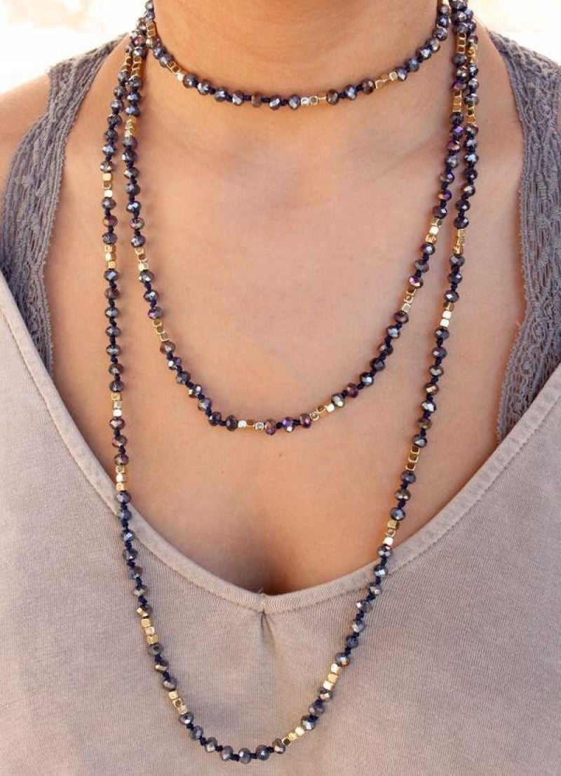 Long Crystal Bead Necklace with Gold Accents