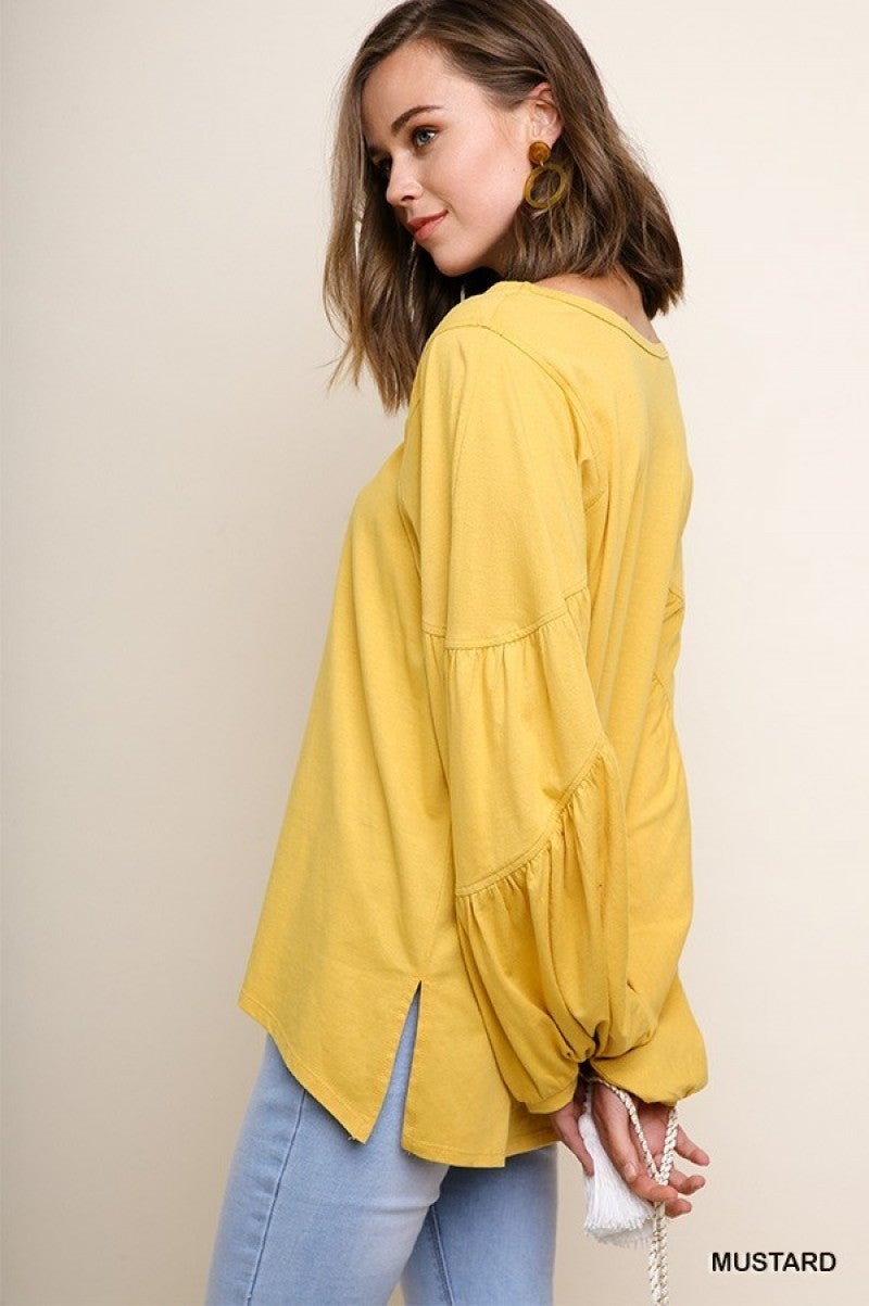 Basic Mustard Top with Puff Sleeves