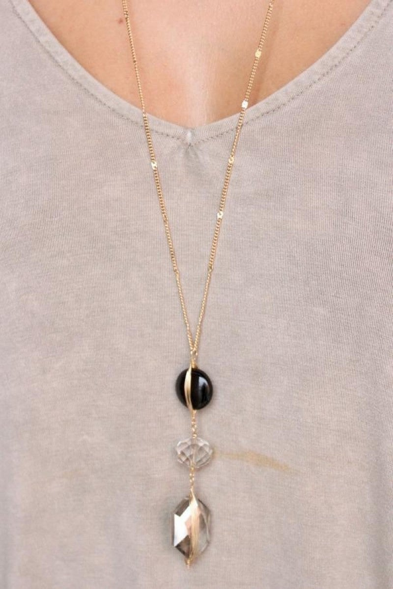 Delicate Long Necklace with Triple Glass Pendant Drop