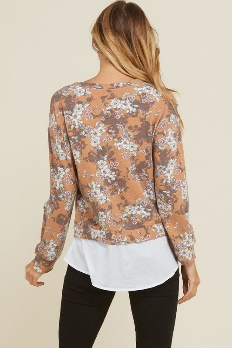 French Terry Floral Top with Front Tie