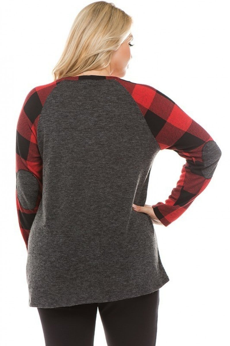 Buffalo Plaid Top with Front Side Tie.