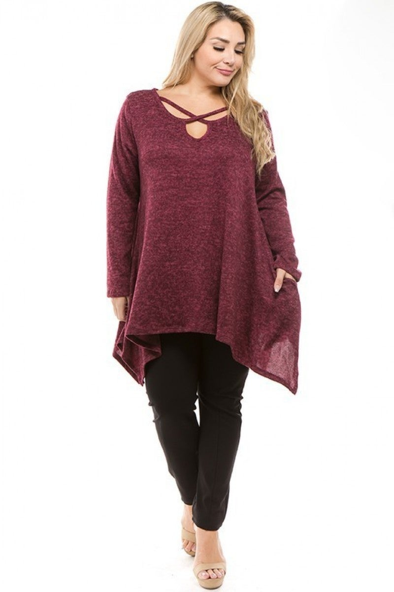 Plus Size Soft Burgundy Sweater Tunic