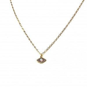 Opal and CZ Evil Eye Princess Length Necklace