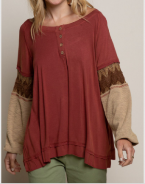 Pol - Round neck knit detail long sleeve top