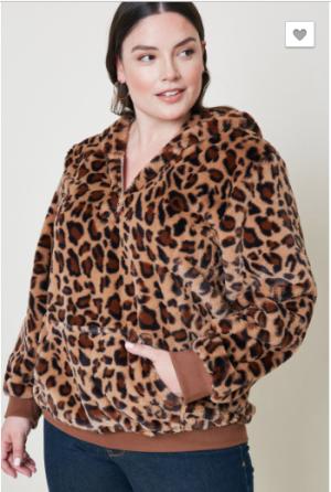 Hayden - Leopard Faux Fur Hoodie Plus Size