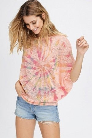 PHIL LOVE-Colorful Tie dye dolman knit top