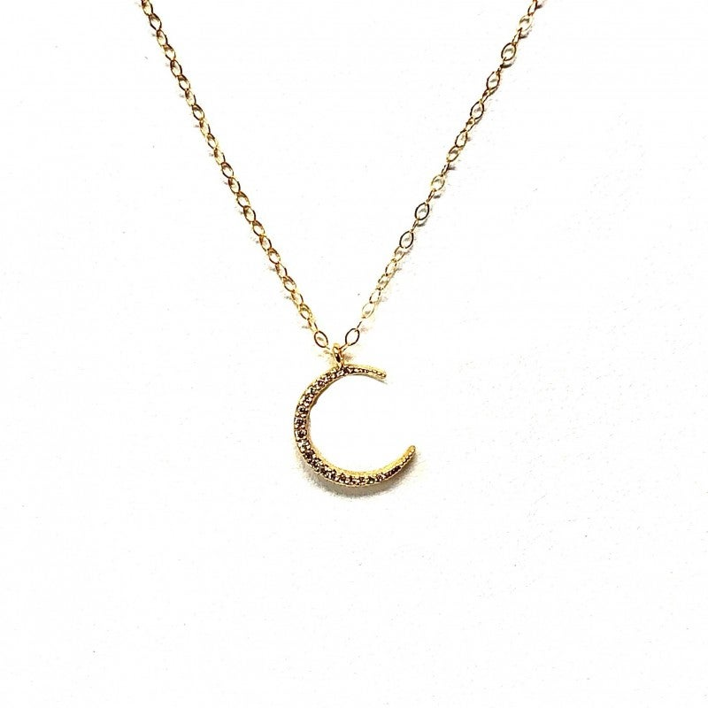 Gold and CZ Crescent Choker Necklace